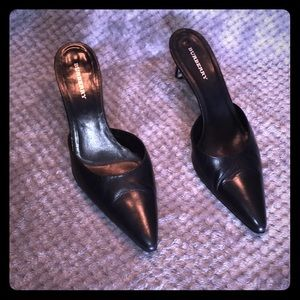 Burberry Black Slip On Mule Heels Sz 9.5 US